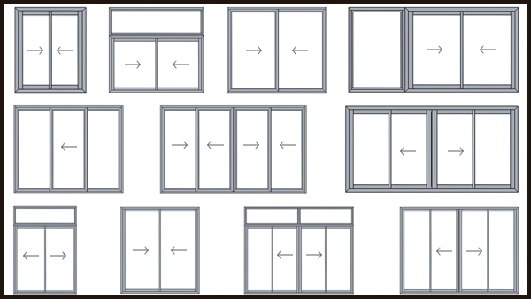 China supplier aluminum profile window sliding windows for Types of sliding glass doors