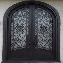 high quality product Wrought iron wine cellar doors with glass Iron Doors and windows Manufacturer