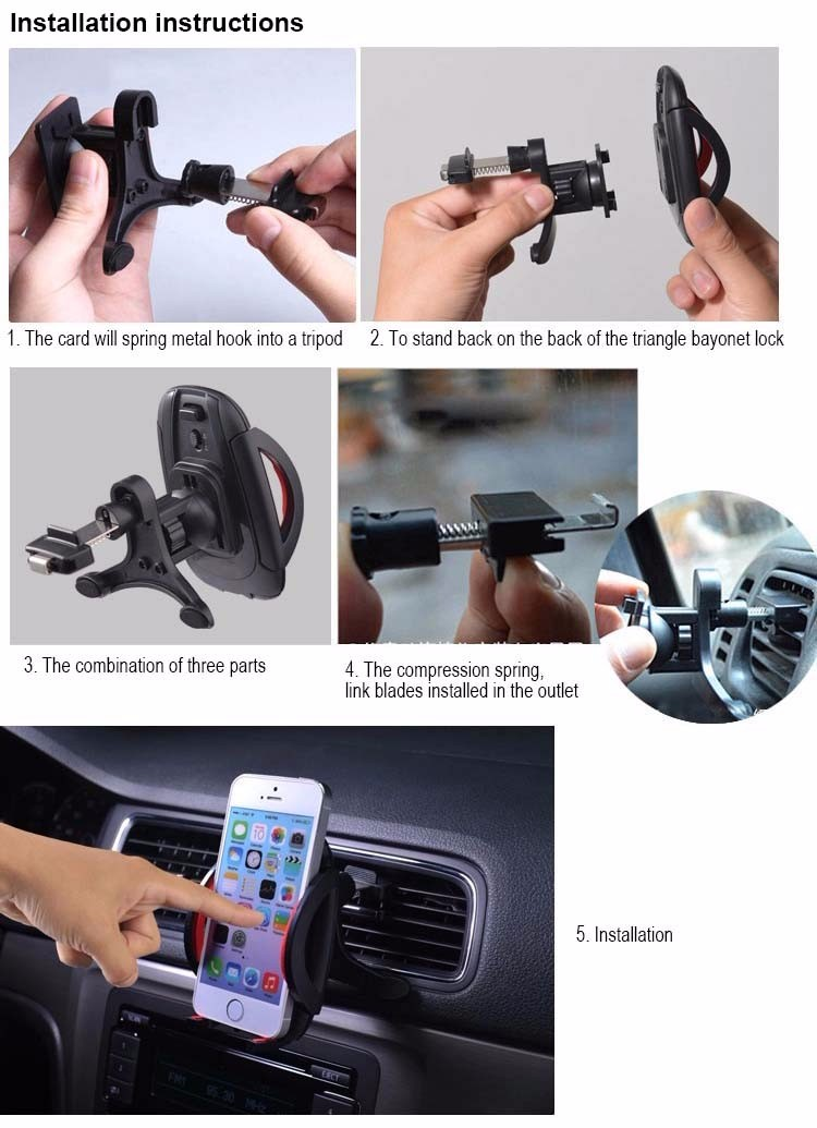 Universal Car Navigation Air Conditioning Mouth Mobile Phone Holder 360 Degree Rotate Air Vent Outlet Cellphone Stand