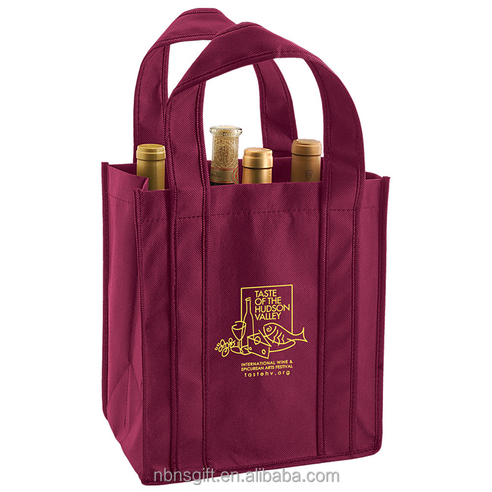 New wine bottle plastic bag pp non woven insulated wine bag 6 bottles