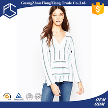 2016 latest pattern 100% cotton v neck casual pullover hoodies women