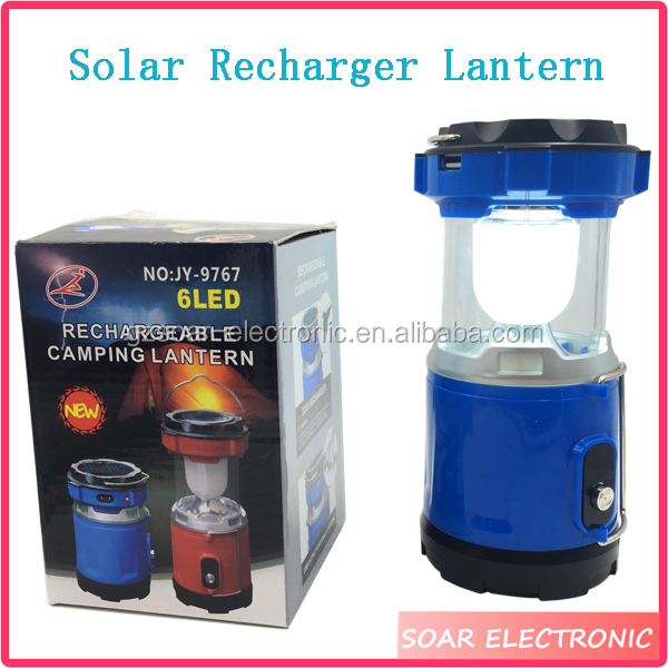6LED Solar 220V Rechargeable LED Camping Lantern, A Top LED Flashlight Function