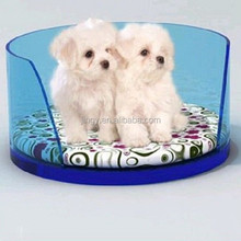 round clear blue organic glass plastic dog bed