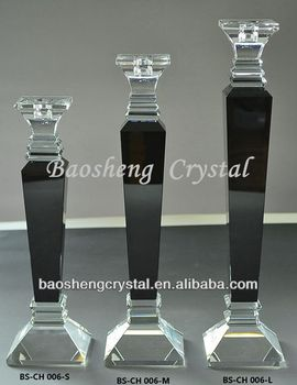 Black Crystal Pillar Glass Candlesticks Wholesale (BS-CH006)