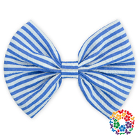 "Fashion Hot Sale Blue white Stripe Seersucker Hair bows 5"" boutique hair bows"