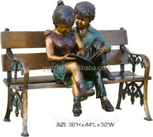 Large outdoor decoration Two children sitting on the bench brass statues, figure copper/bronze sculpture