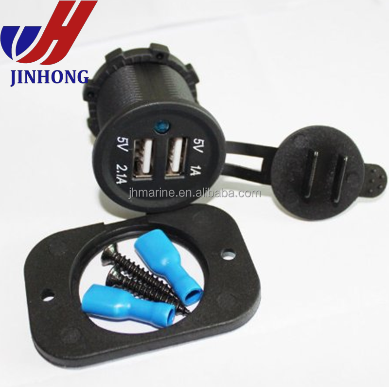 DC 12v car motorcycle marine boat dual usb outlet with cover