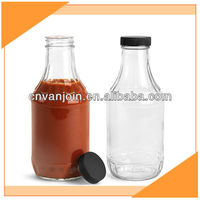 16 oz Clear Glass Salad Dressing Bottles with Black Induction Lined Caps
