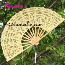 27cm Yellow Lace Fan Wedding Door Gift Wedding Collections Fan Souvenirs Gift