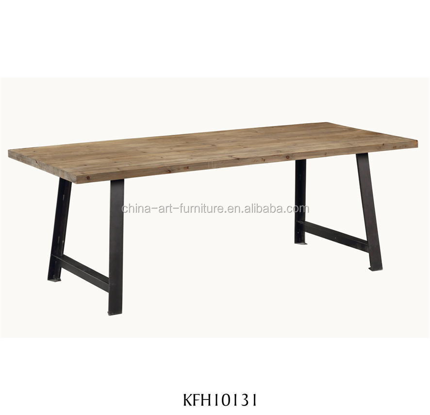 Rustic wooden dining <strong>table</strong> with Iron base , recycled fir,antique style Rectangular <strong>tables</strong>
