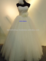 Strapless Spot Tulle Ball Gown with Beaded Waist Wedding Dress