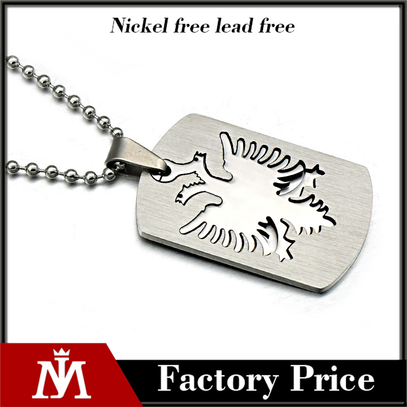 Promotion cheap personalized 316L stainless steel jewelry dog tag necklaces for men