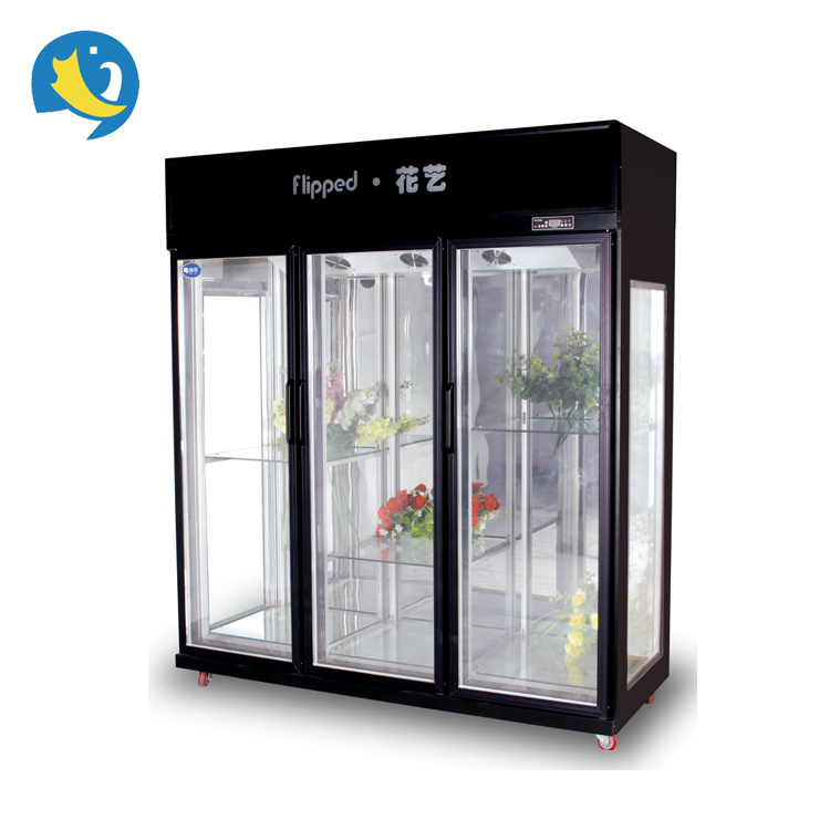 Four side glass door display cooler 2~8 degree commerical luxury flower cabinet refrigerator