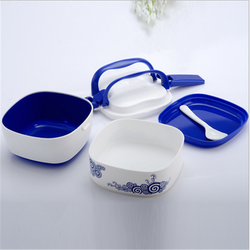 Blue and white large capacity 2 layers lunch box/portable students lunch bento storage box with handle/ made in China box
