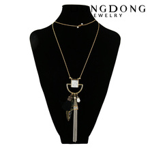 Women Vintage Exaggerate Long Alloy Tassel l Pendant Sweater Necklace Wholesale