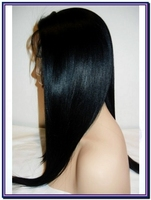 "12"" Light Yaki Off Black Full Lace Remy Indian Human Hair Wig"