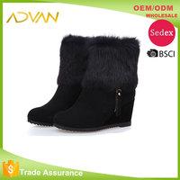 Black Ladies Boots Round Toe Wedge Heel Solid Side Zipper Rabbit Fur Design Boots For Women