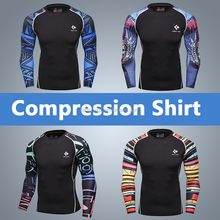 Men Compression Shirts MMA Rashguard Keep Fit Fitness Long Sleeves Base Layer Skin Tight Weight Lifting Elastic T Shirts Homme