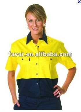 Australia Two Tone Women Designer Hi-Vis Work Shirts Mechanic Short Sleeve Work Shirts