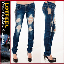 Crystal Rhinestone Destroyed women Skinny Stretch Jeans Dark Blue (LOTX328)