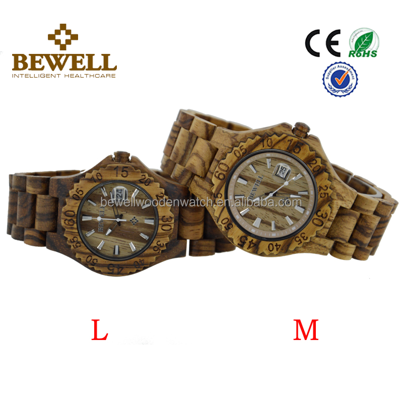 Rohs Exporter factory price Bewell or OEM Complete Calendar zebra wood case and band pair couples wooden watch
