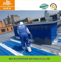 Waterproof roof coating with spray application