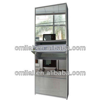 modern gloss glass wooden mdf shoes cabinet