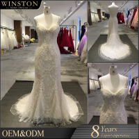 2015 New Design Top Quality China Factory Made white and gold wedding dress