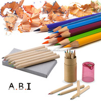 hot sales 3.5inch natural wood kids color pencil with sharpener