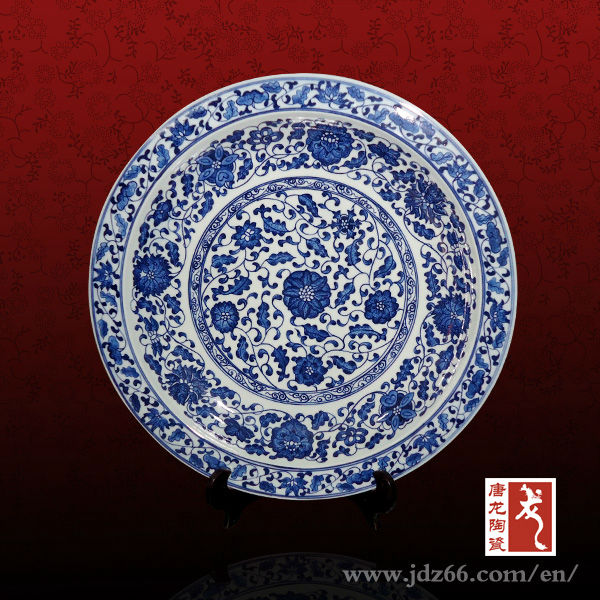 Blue and White Flower Handmade Decorative Antique Porcelain Plates