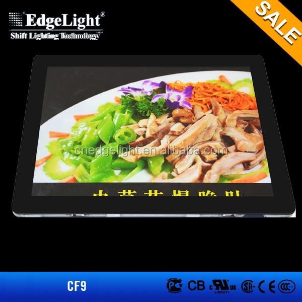 Edgelight CF9 acrylic led sign boards , magnetic light box menu board cheap price whole sale A4 size