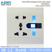 Metal wiredrawing edging ac power 110-250v socket outlet usb 5V 2.1A 2.4A