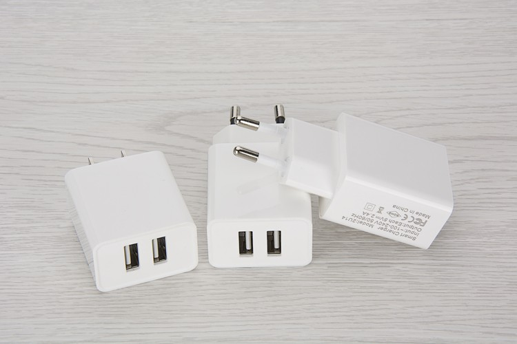 Dual Port Euro US Pin USB Wall Charger Adapter