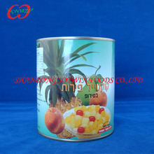 Cannd mix fruits: peach, pear, pineapple, cherry, grape, canned fruit cocktail in light syrup