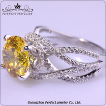 China Supplier Custom Best Price Yellow Big Zircon Stone Silver Finger Ring Designs For Gift