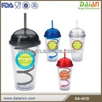 Reusable Double wall acrylic straw mug with dome lid customized PET card insert