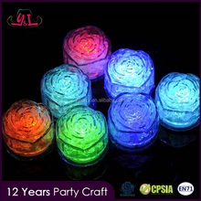 2017 Fashion Accessory Rose Shape Light Up Ice Cube For Wedding Party Supplies