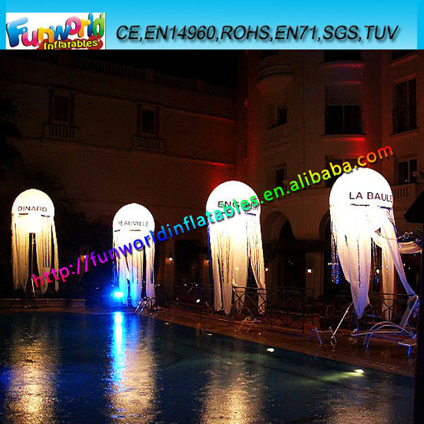 2014 white inflatable balloon led light outdoor inflatable halloween decoration - Outdoor Inflatable Halloween Decorations