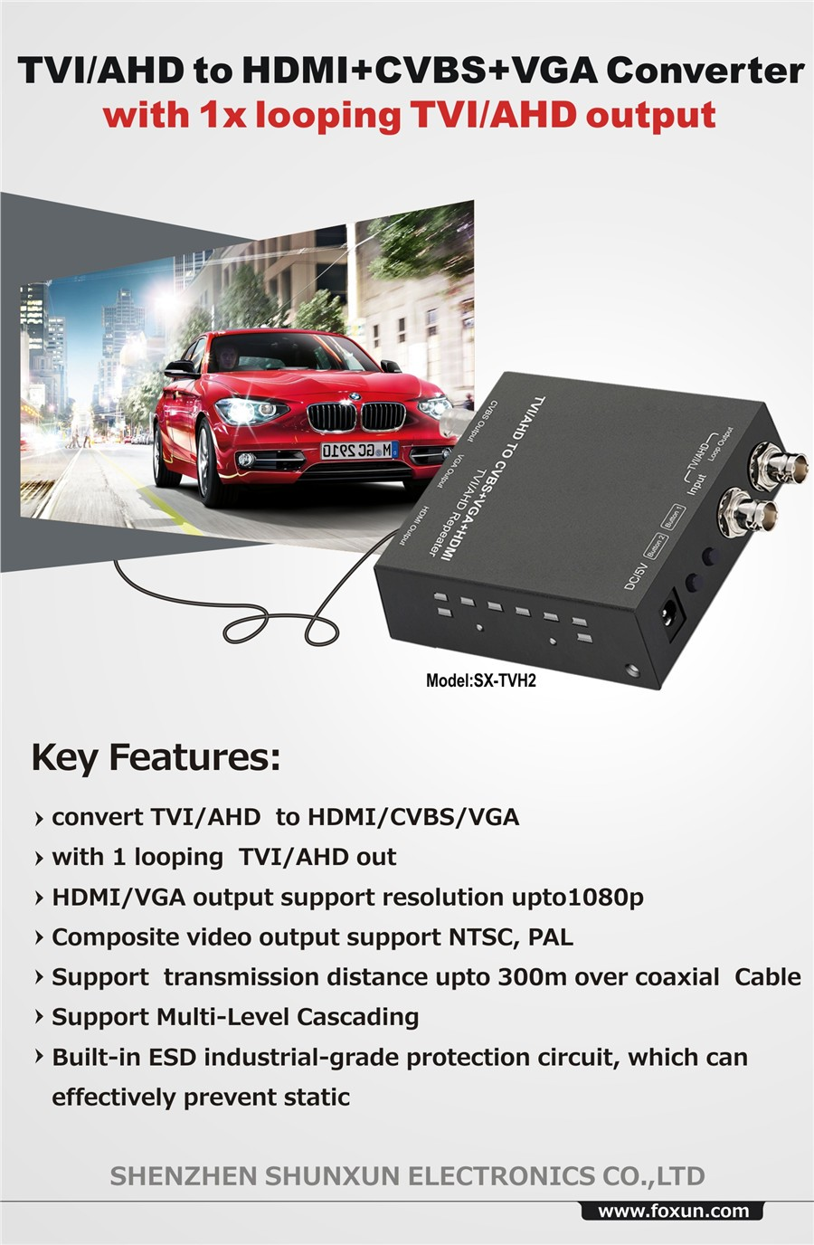 New AHD  300m TVI/AHD to HDMI Converter, with 1xlooping TVI/AHD output