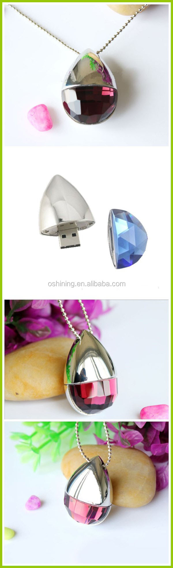 Cute Heart Shape Transparent Crystal Usb Flash Memory For Women Necklace USB Flash Drive(USB-DA324)