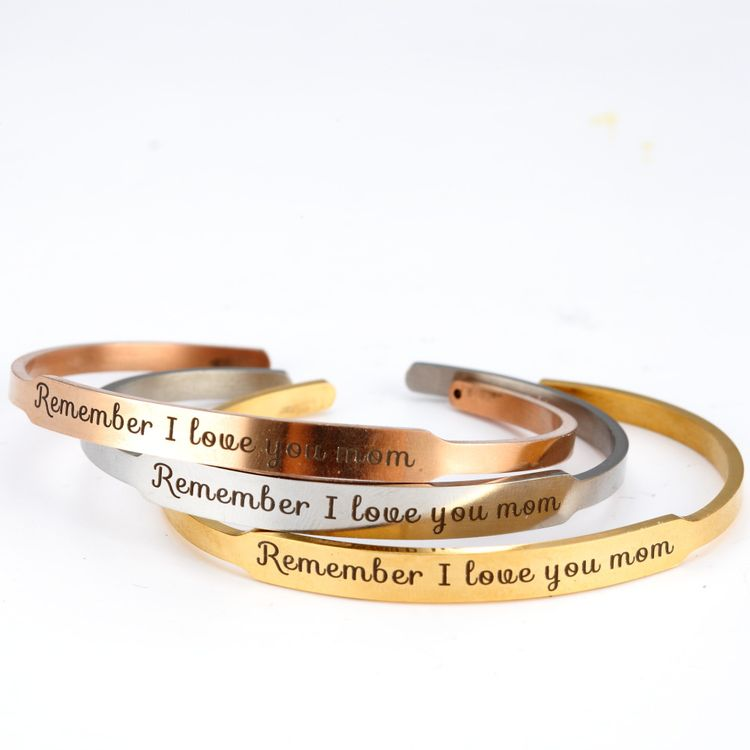 2019 C Shape Gold Silver Rose Gold Remember I Love You Mom Engraved Cuff Bangle Bracelets Jewelry Gift for Mother
