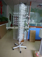 4-side spinning display rack for stickers white rotatable display stand with plastic price tabs