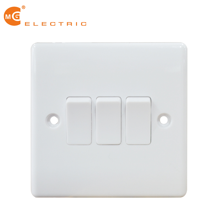 White moulded range triple 3 gang light switch
