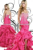 OC-218 Strapless corset lace up back short in front long in back dresses short front long back prom dress 2013 new fashion