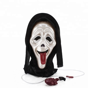 Bleeding Shock Scream Horror Ghost Full Face tongue Masks,Mask-Dripping Bloody Bleeding Halloween Costume