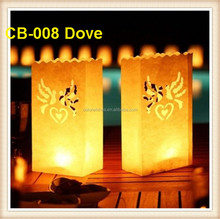 New Design Wedding Party Decoration Dove Illuminating Paper Candle Bags