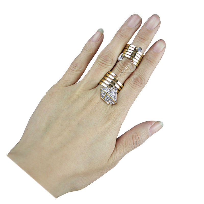 New Design diamante Rhombus Same Finger Link Ring Knuckle Midi Ring