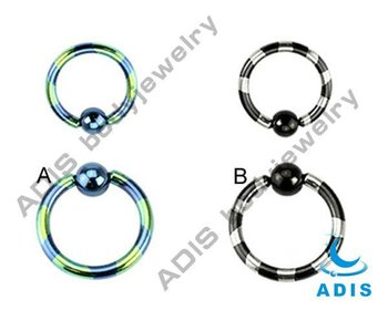 G23 Titanium anodized duel-tone striped captive bead ring