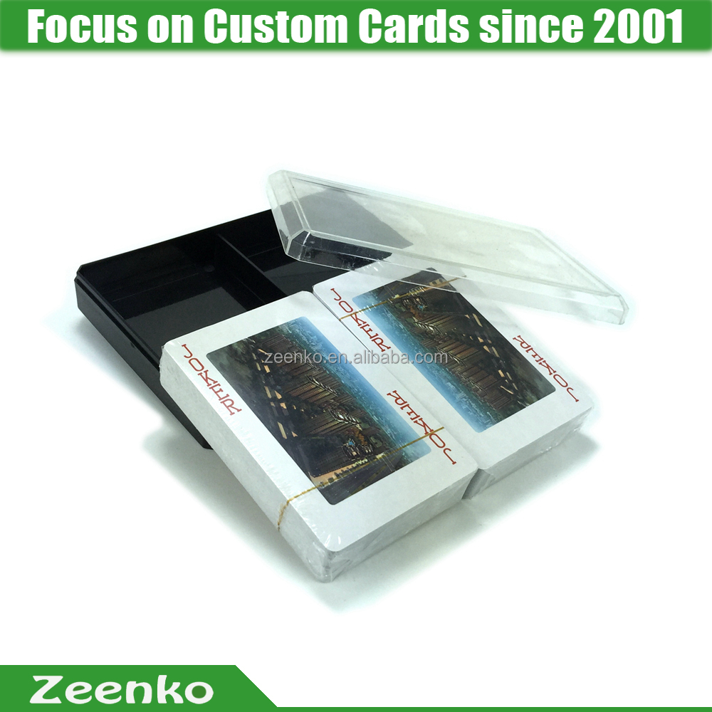 P062 CMYK Custom printed plastic playing card box pvc playing card clear plastic playing card box