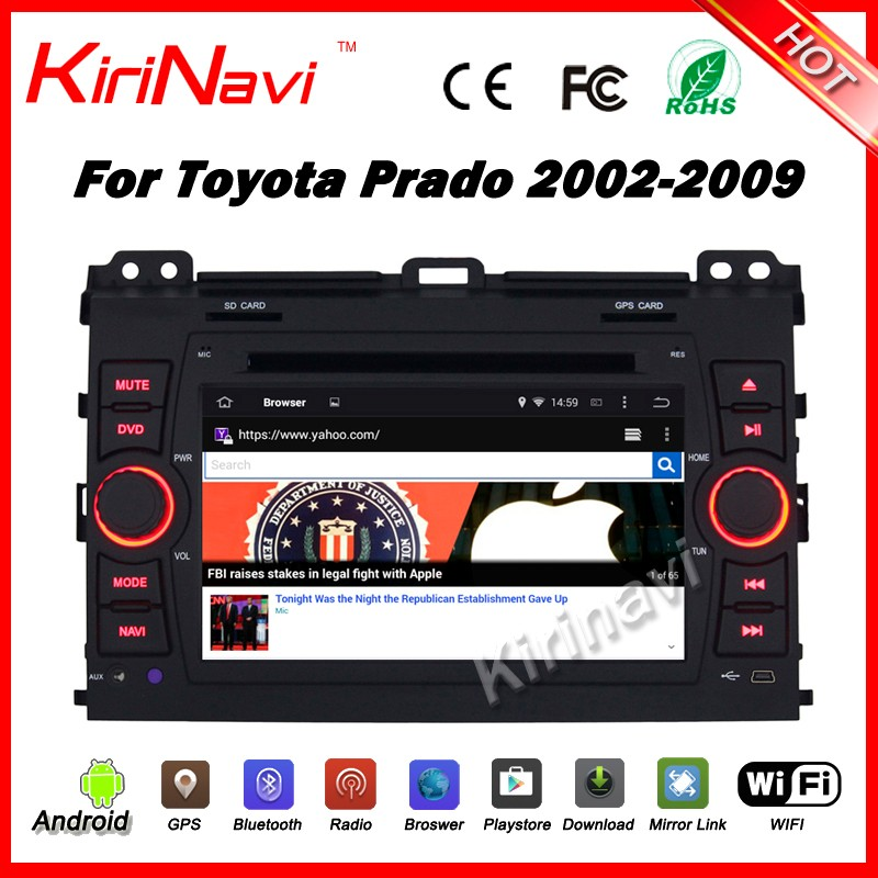 Kirinavi WC-TP7027 android 5.1 2 din car multimedia system for toyota prado 2002-2009 car audio steering wheel control